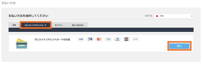 iFOREXクレジットカードの入金方法説明